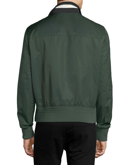 Stripe-Collar Varsity Track Jacket, Ivy