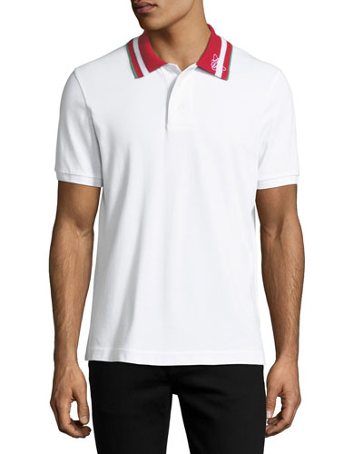 Striped-Collar Polo Shirt, White