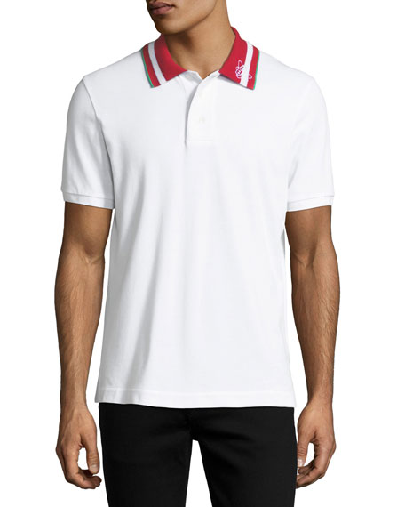 Bally Striped-Collar Polo Shirt, White
