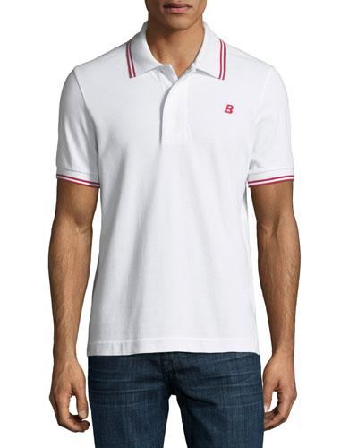 Striped Cotton Pique Polo Shirt, White