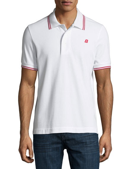 Bally Striped Cotton Pique Polo Shirt, White
