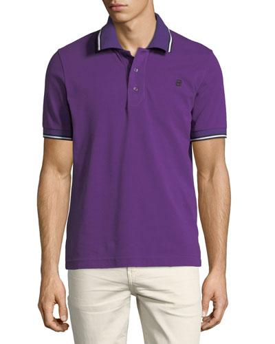 Striped Cotton Pique Polo Shirt