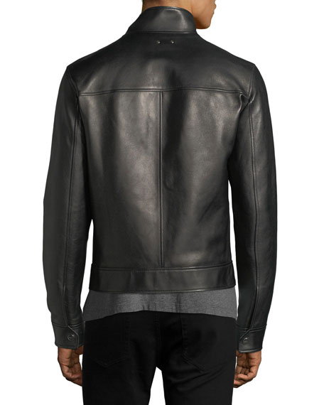 Leather Cafe Racer Jacket, Black