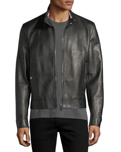 Leather Cafe Racer Jacket, Black