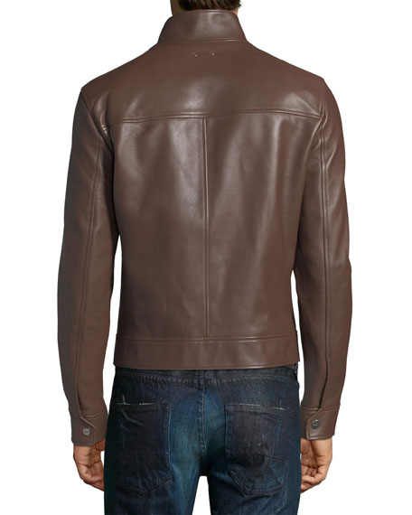 Leather Cafe Racer Jacket, Brown