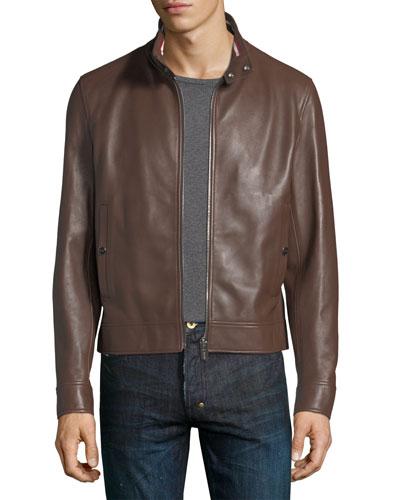 Leather Cafe Racer Jacket, Brown