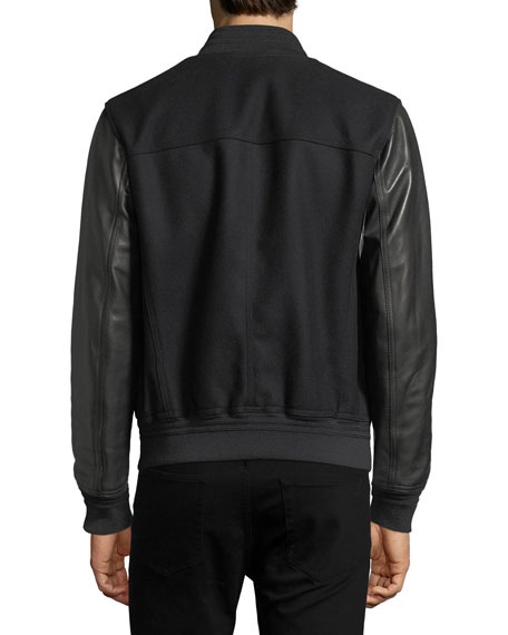Lambskin Leather & Felt Varsity Jacket