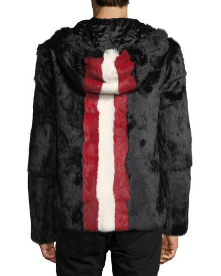 Rabbit Fur Jacket with Trainspotting Stripe