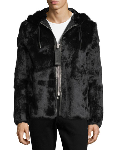 Bally Rabbit Fur Jacket with Trainspotting Stripe