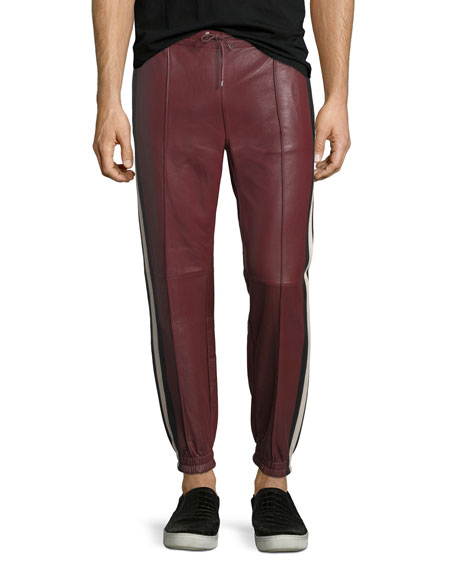 Bally Lambskin Leather Jogger Pants