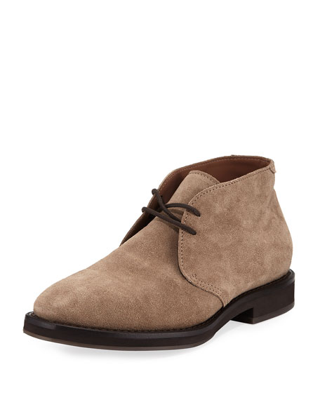 Brunello Cucinelli Men's Suede Desert Boot, Gray