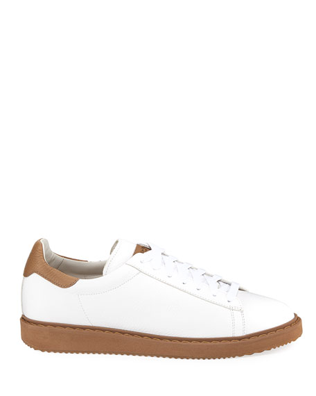 Men's Leather Low-Top Sneakers, White