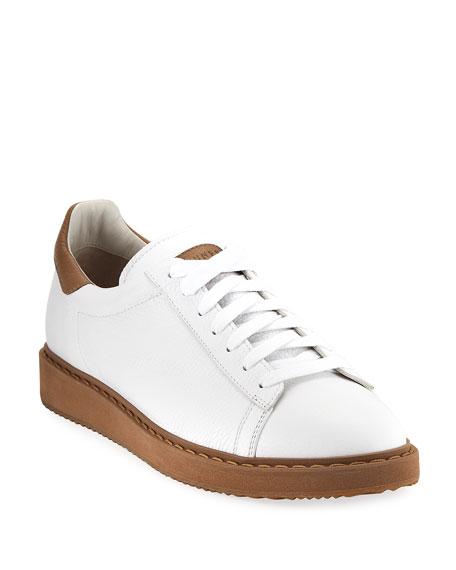 Brunello Cucinelli Icaro Leather Low-Top Sneaker, White