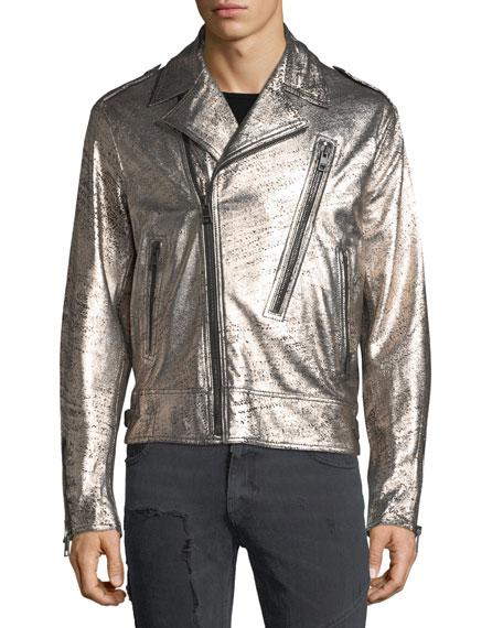 Crackled Leather Biker Jacket