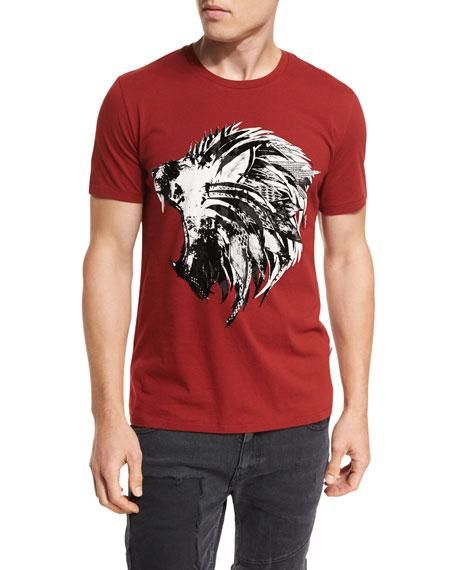 Feather Lion Cotton Crewneck T-Shirt