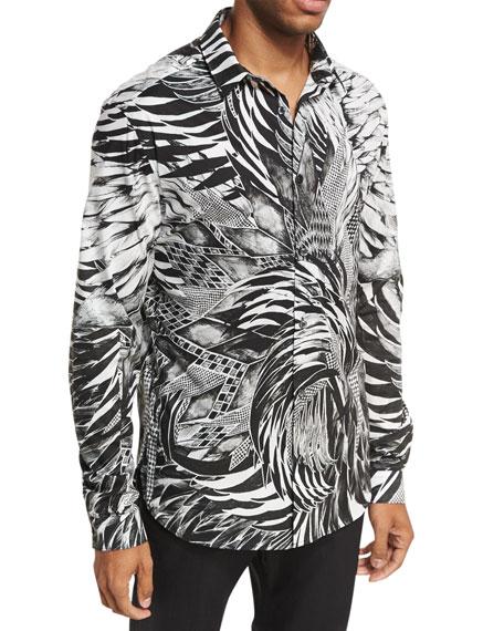 Palm Leaf & Feather Stretch-Cotton Shirt