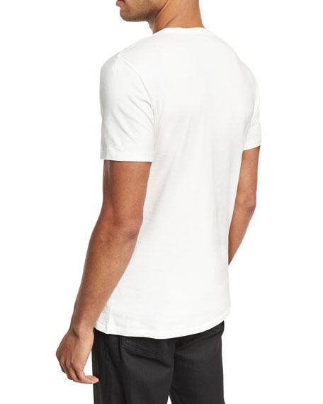 Feather Skull Cotton Crewneck T-Shirt