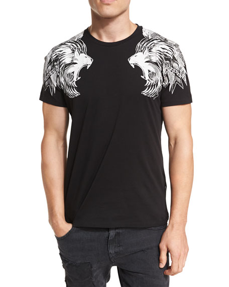 Lion-Shoulder Cotton Crewneck T-Shirt
