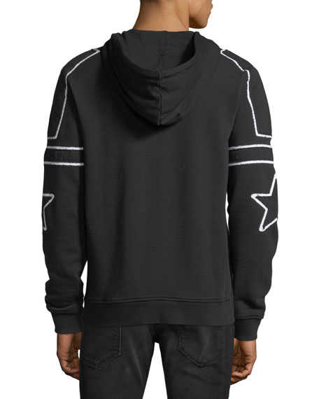 Star-Patch Zip-Front Hoodie