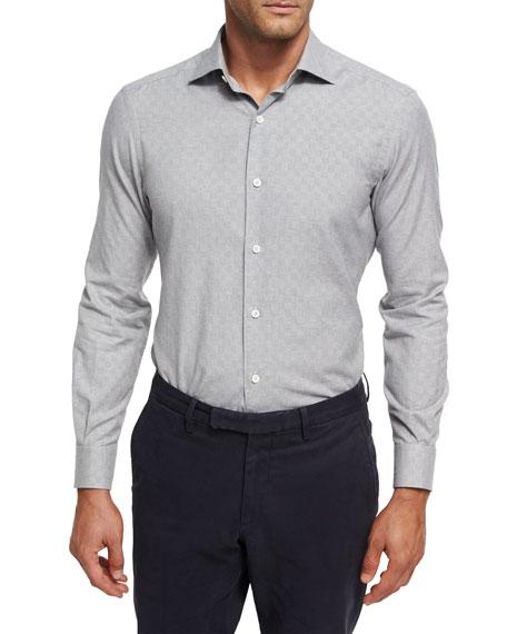 Ermenegildo Zegna Tonal Box Jacquard Shirt, Gray