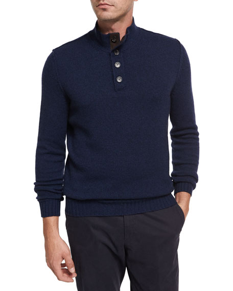 Ermenegildo Zegna Cashmere Button-Neck Pullover, Medium Blue