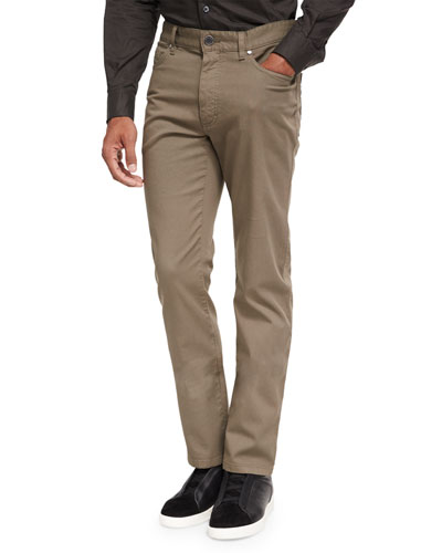Pique Five-Pocket Pants, Dark Green