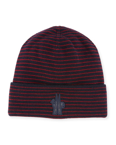 Striped Wool Logo Beanie Hat