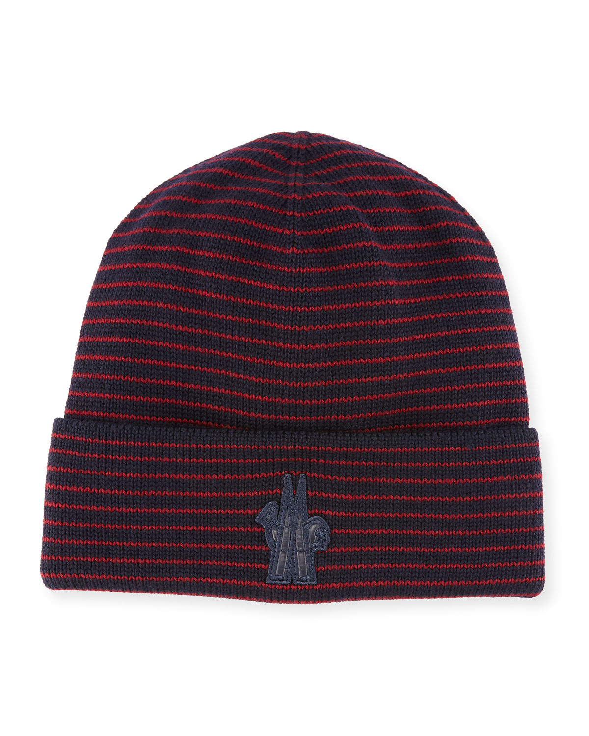 2b445045183 Moncler Striped Wool Logo Beanie Hat