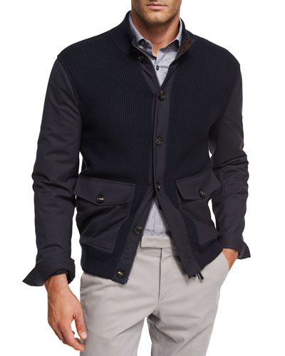 Ribbed Wool Patch-Pocket Cardigan Jacket