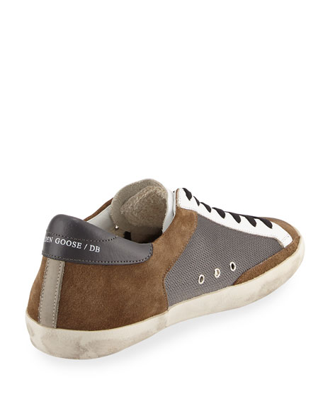 Men's Suede & Mesh Star Low-Top Sneaker, Gray