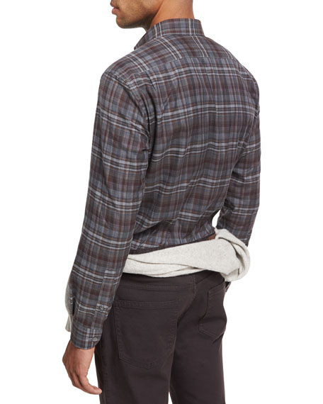 Plaid Cotton Shirt, Dark Gray/Burgundy