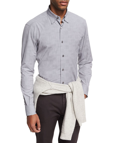 Ermenegildo Zegna Fine-Plaid Cotton Shirt