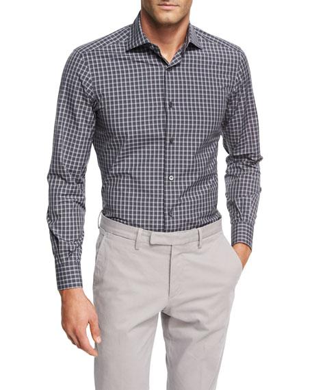 Check Cotton Shirt, Charcoal/White