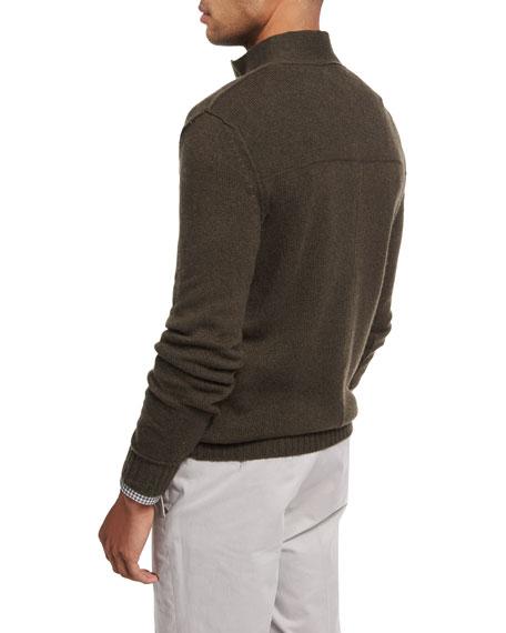 Cashmere Button-Neck Pullover, Olive
