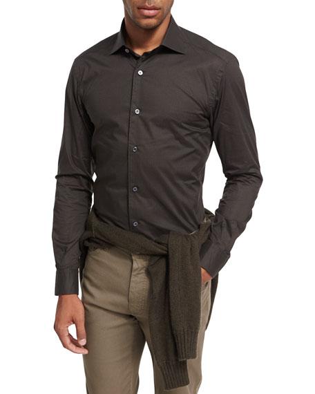 Ermenegildo Zegna Circle-Print Cotton Shirt