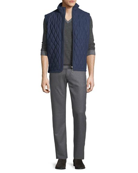 Stretch-Flannel Five-Pocket Pants, Medium Gray