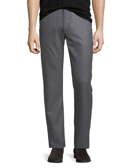Ermenegildo Zegna Stretch-Flannel Five-Pocket Pants, Medium Gray