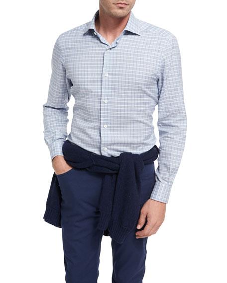 Plaid Cotton Shirt, Light Blue/White
