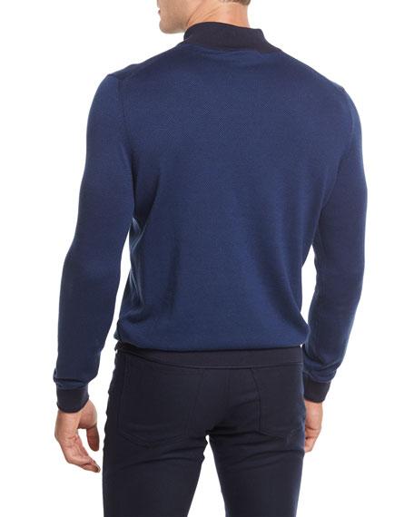 Quarter Herringbone Zip Sweater