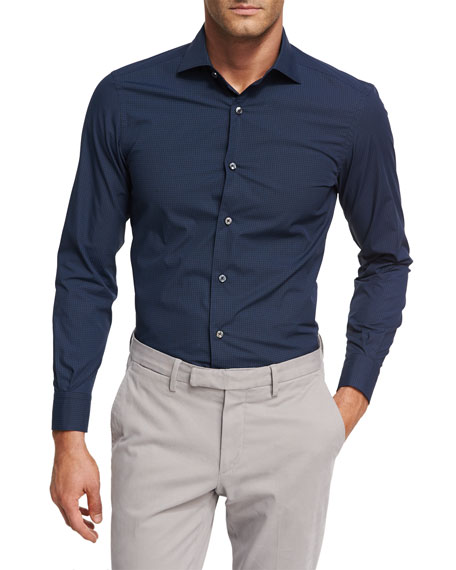 Ermenegildo Zegna Geometric-Print Cotton Shirt, Dark Navy/Blue