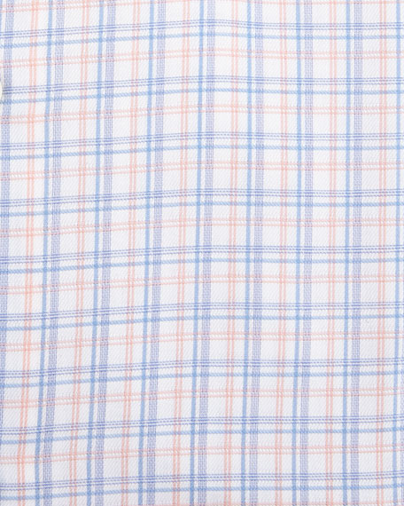 Gold Label Check Cotton Dress Shirt, Orange/Blue