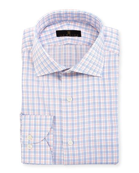 Ike Behar Gold Label Check Cotton Dress Shirt,