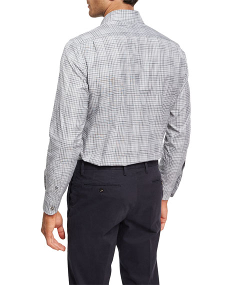 Stripe-Plaid Cotton Shirt
