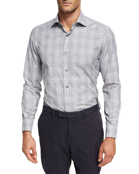 Ermenegildo Zegna Stripe-Plaid Cotton Shirt
