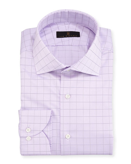 Ike Behar Gold Label Check Cotton Dress Shirt,
