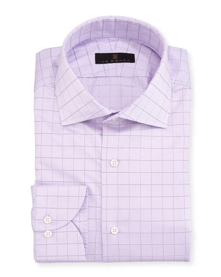 Gold Label Check Cotton Dress Shirt, Lavender