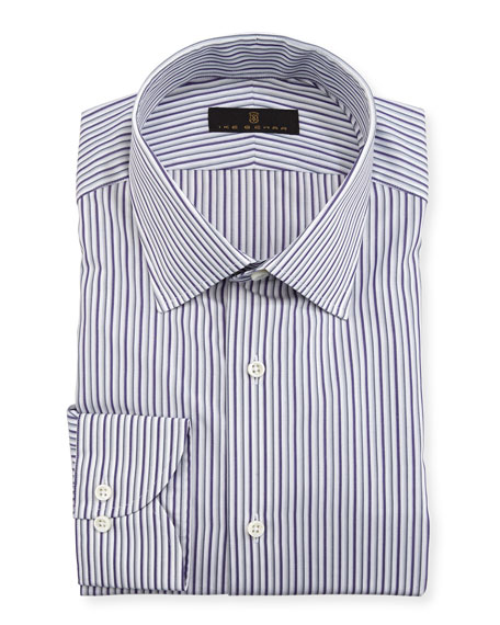 Gold Label Striped Cotton Dress Shirt, Purple/Gray