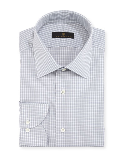 Gold Label Check Cotton Dress Shirt, Gray