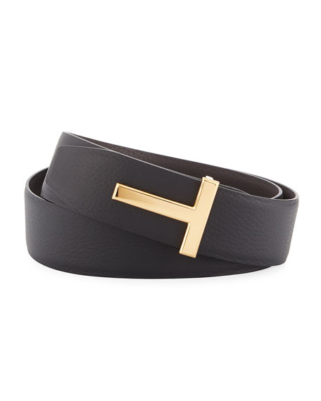 TOM FORD T-Buckle Reversible Leather Belt, Black