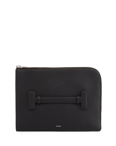 T Line Grained Leather Portfolio Case